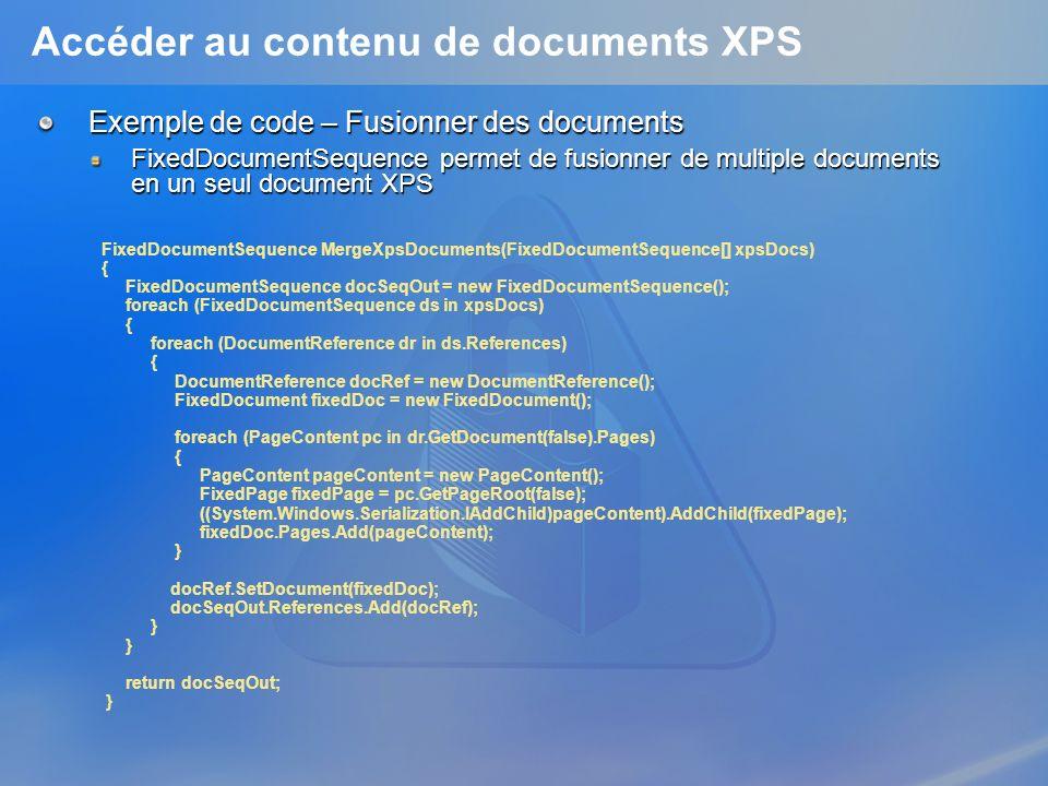 Accéder au contenu de documents XPS