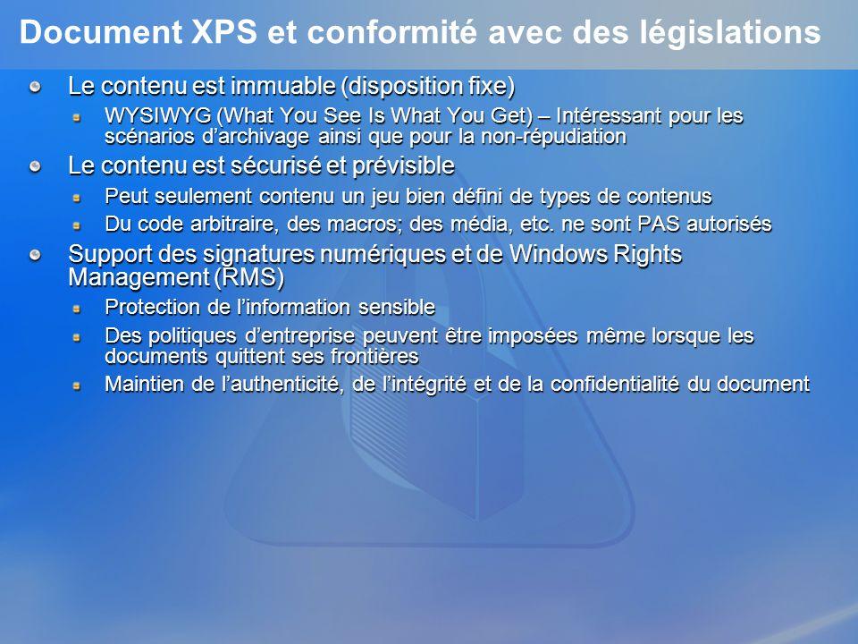 Document XPS et conformité avec des législations