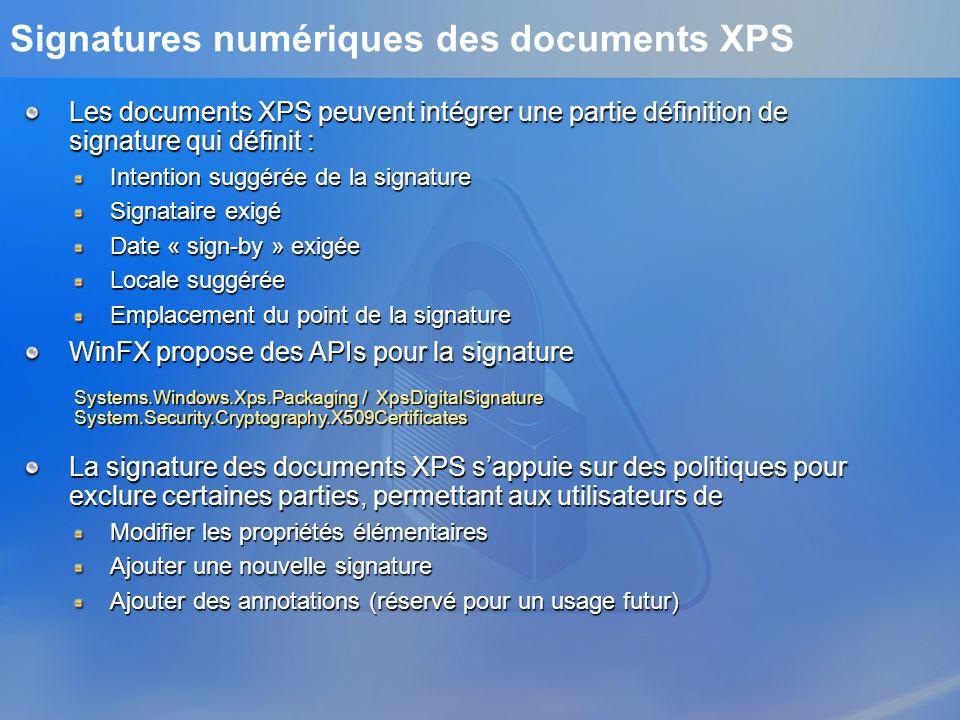 Signatures numériques des documents XPS