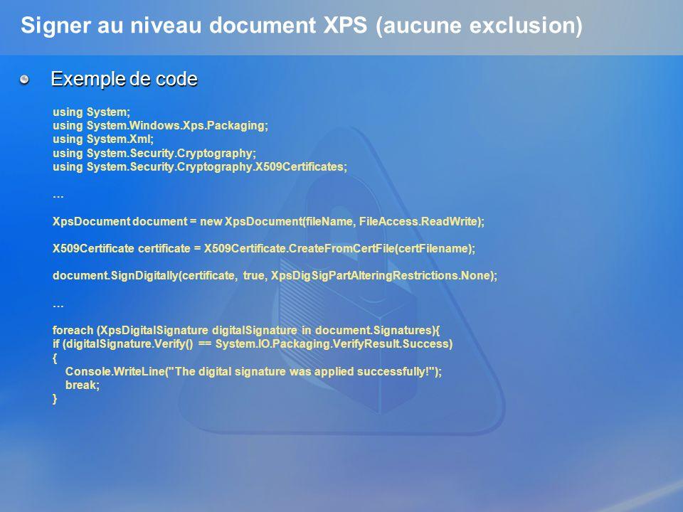 Signer au niveau document XPS (aucune exclusion)