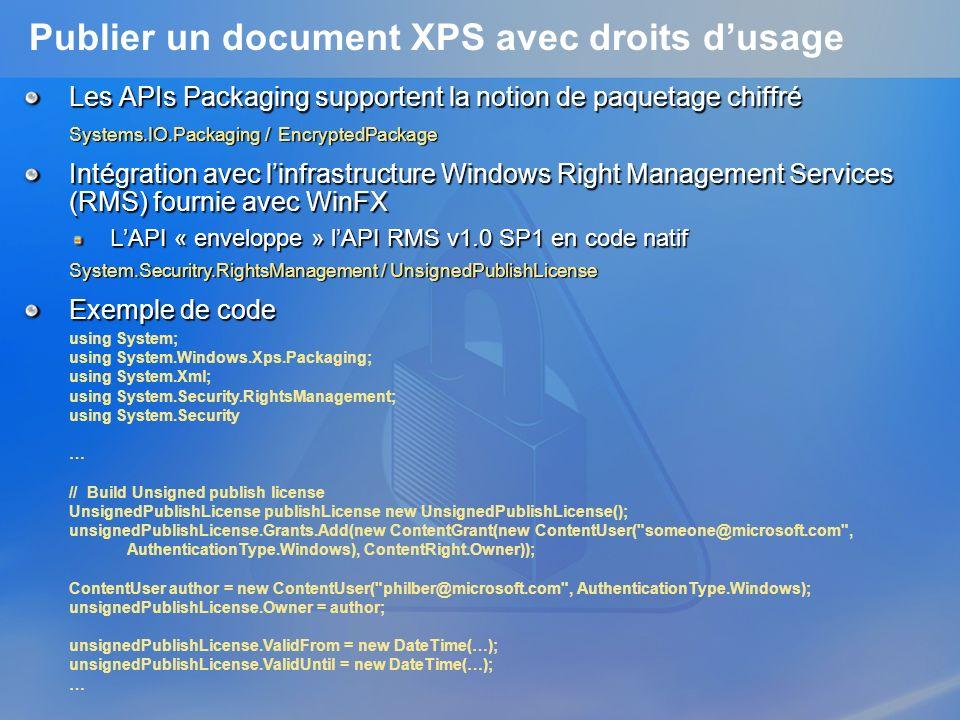 Publier un document XPS avec droits d'usage