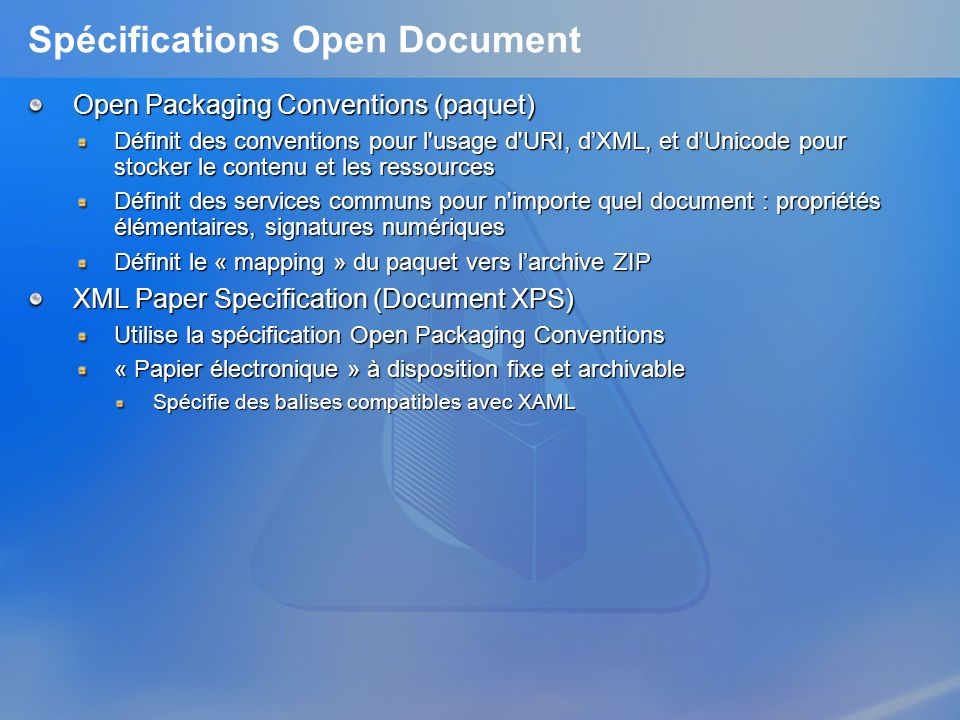Spécifications Open Document
