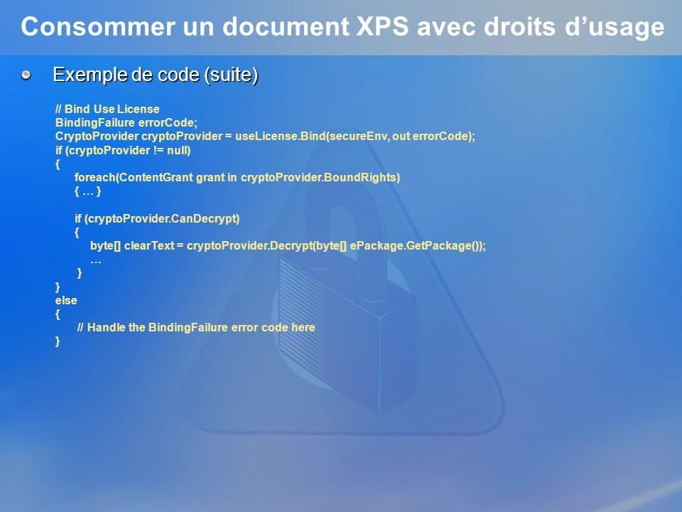 Consommer un document XPS avec droits d'usage