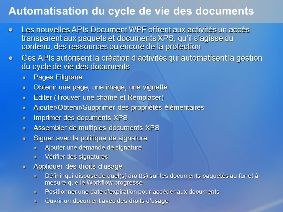 Automatisation du cycle de vie des documents