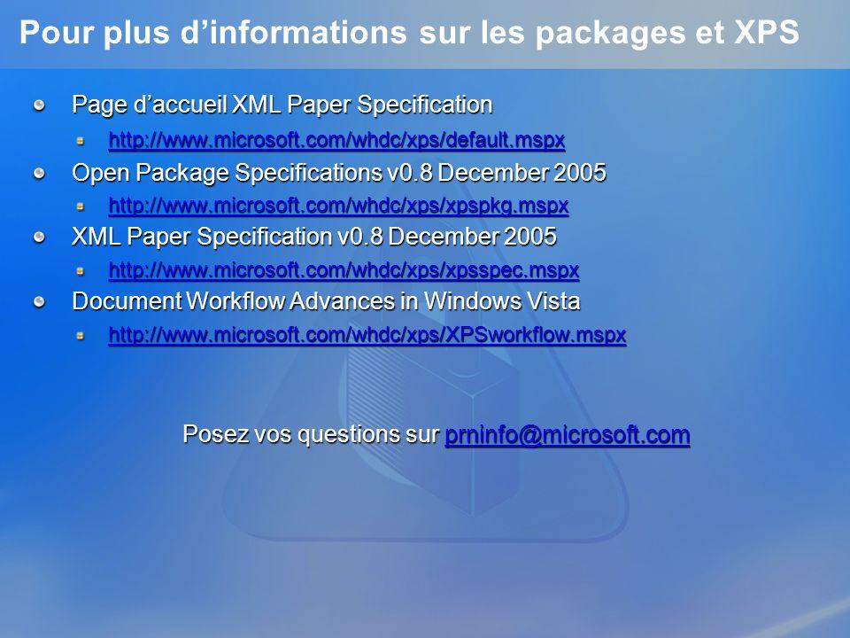 Pour plus d'informations sur les packages et XPS
