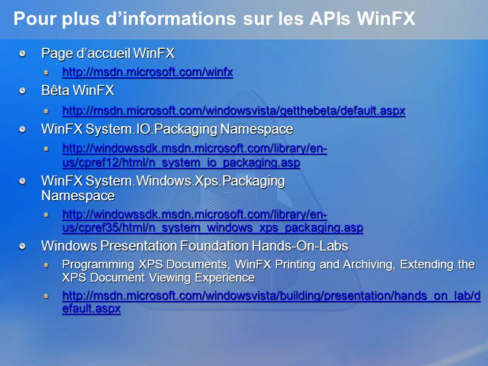 Pour plus d'informations sur les APIs WinFX