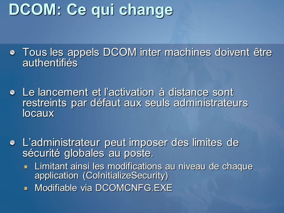 DCOM: Ce qui change Tous les appels DCOM inter machines doivent être authentifiés.