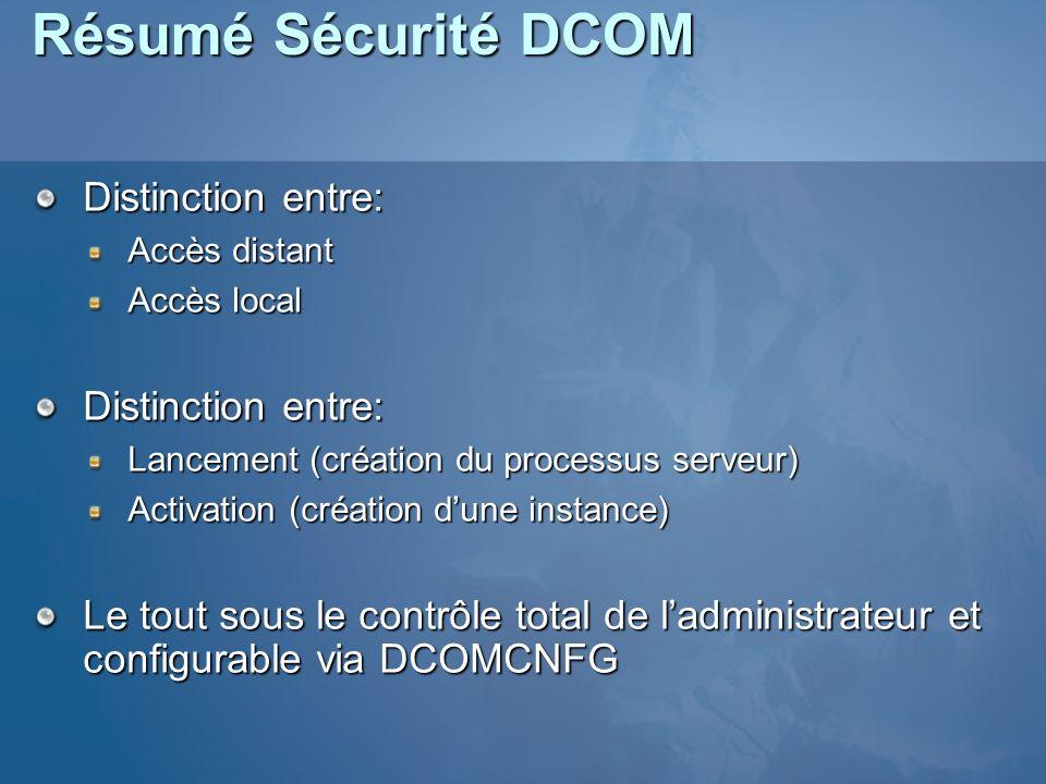 Résumé Sécurité DCOM Distinction entre: