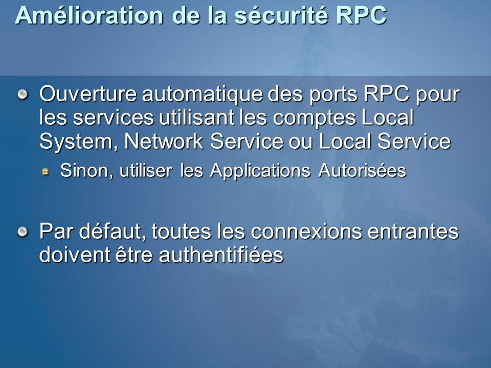 Amélioration de la sécurité RPC