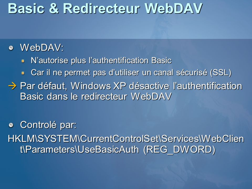 Basic & Redirecteur WebDAV