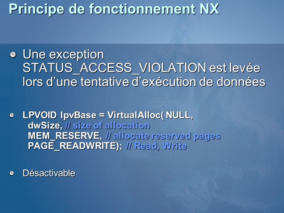 Principe de fonctionnement NX