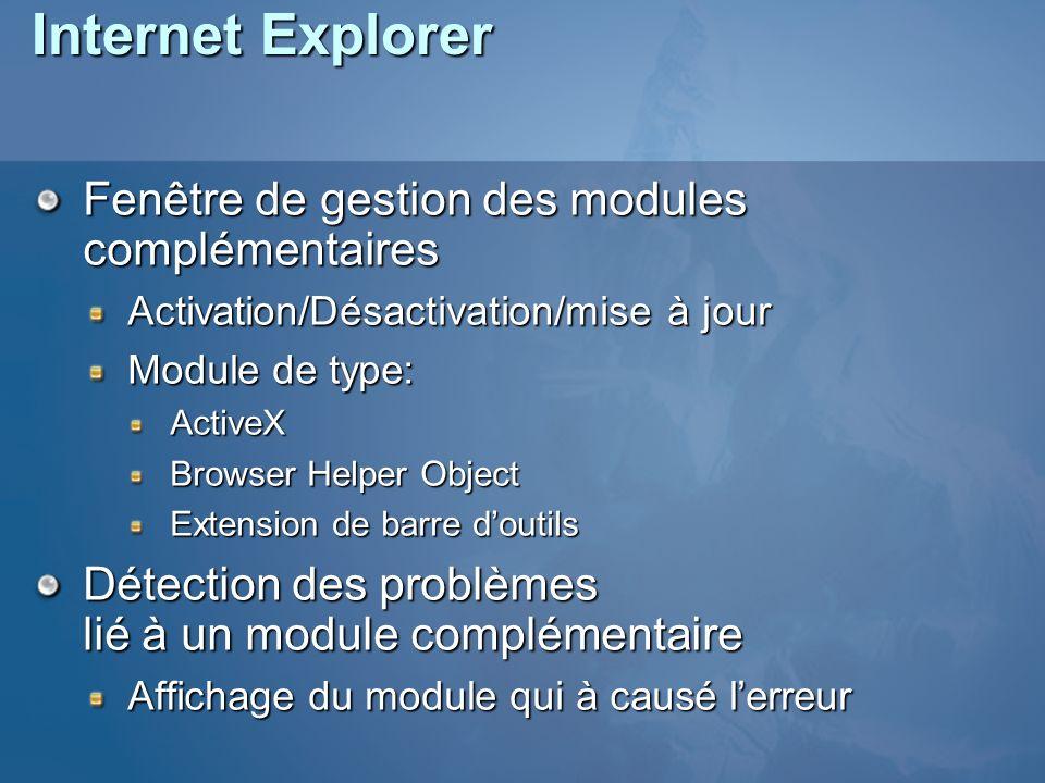 Internet Explorer Fenêtre de gestion des modules complémentaires