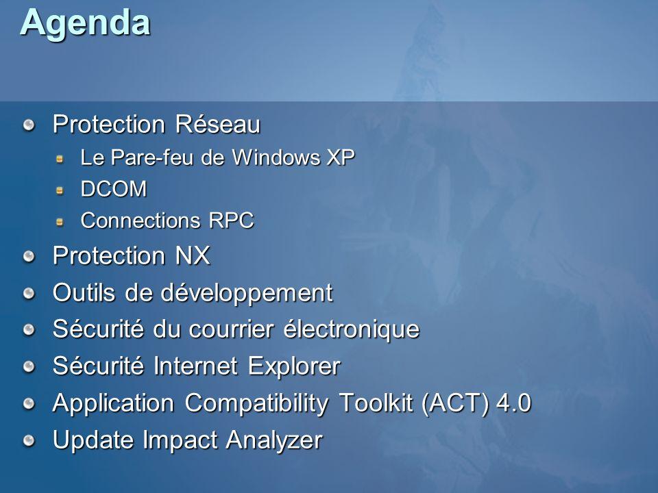 Agenda Protection Réseau Protection NX Outils de développement