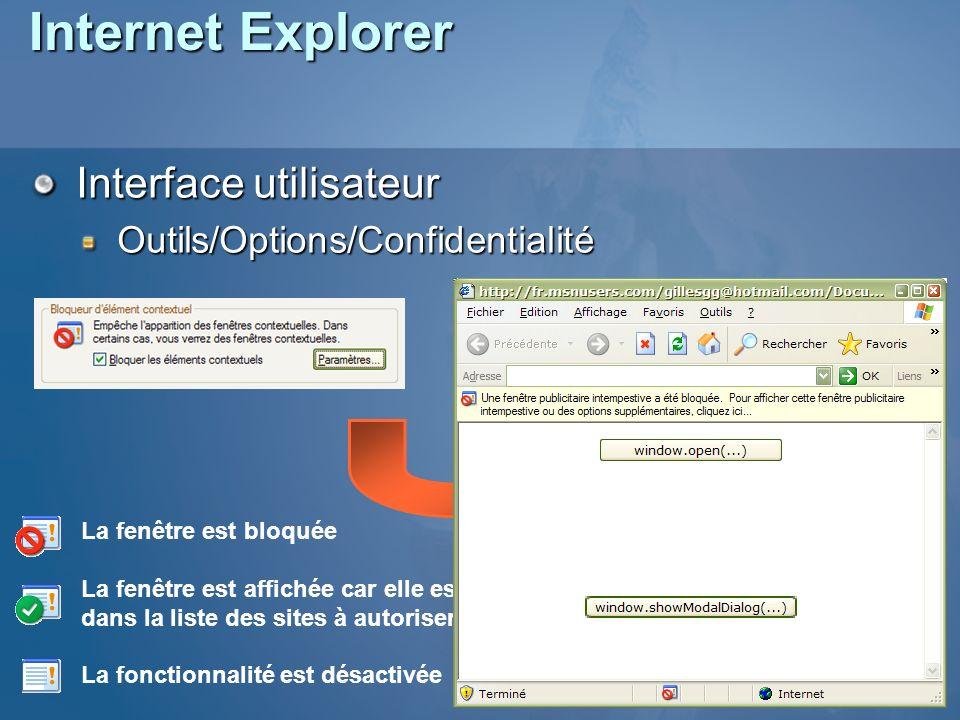 Internet Explorer Interface utilisateur Outils/Options/Confidentialité