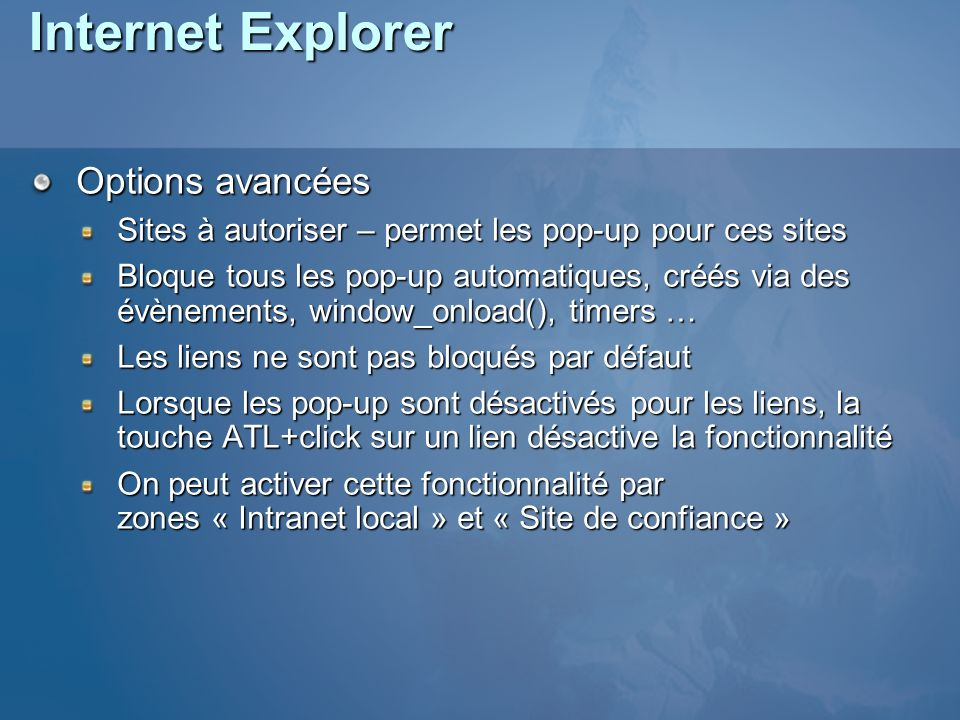 Internet Explorer Options avancées
