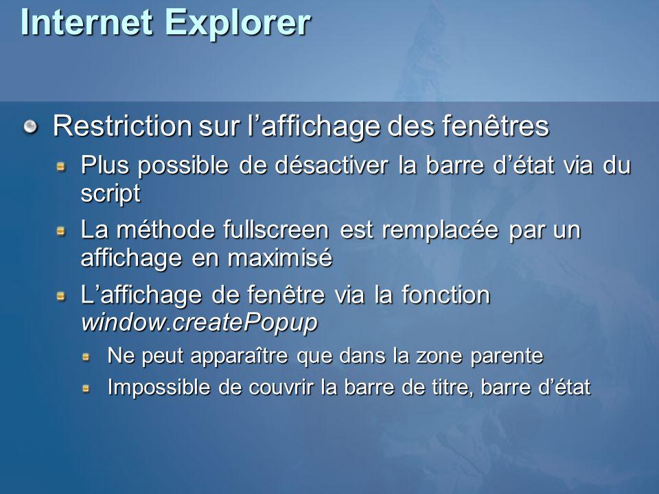 Internet Explorer Restriction sur l'affichage des fenêtres