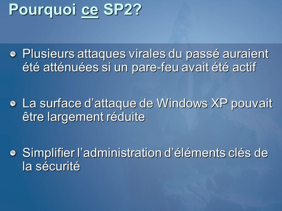 Pourquoi ce SP2 Plusieurs attaques virales du passé auraient été atténuées si un pare-feu avait été actif.