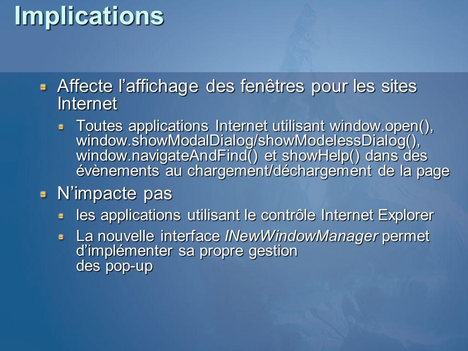 Implications Affecte l'affichage des fenêtres pour les sites Internet
