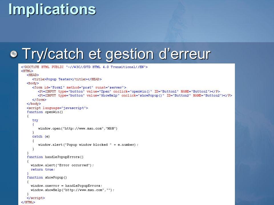 Try/catch et gestion d'erreur