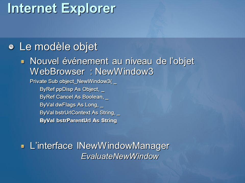 Internet Explorer Le modèle objet