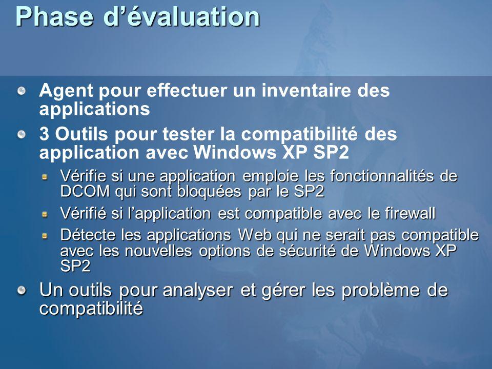 Phase d'évaluation Agent pour effectuer un inventaire des applications