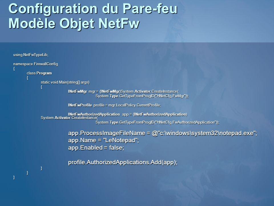 Configuration du Pare-feu Modèle Objet NetFw