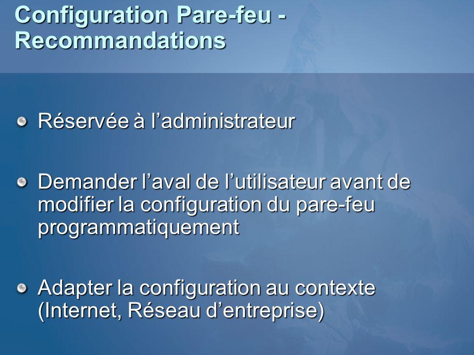 Configuration Pare-feu - Recommandations