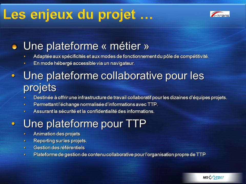 Les enjeux du projet … Une plateforme « métier »