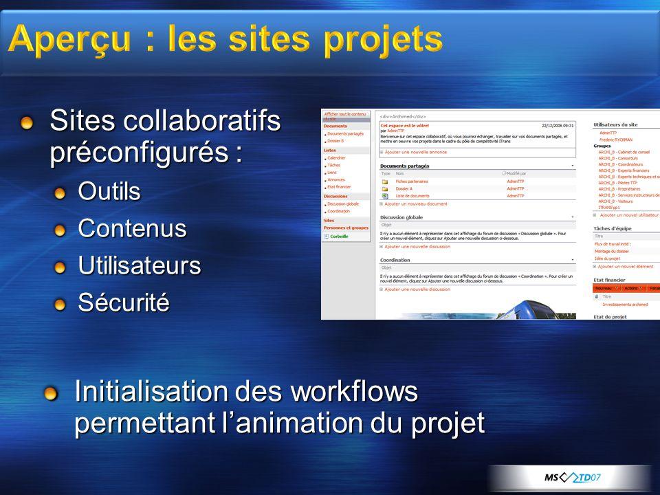 Aperçu : les sites projets