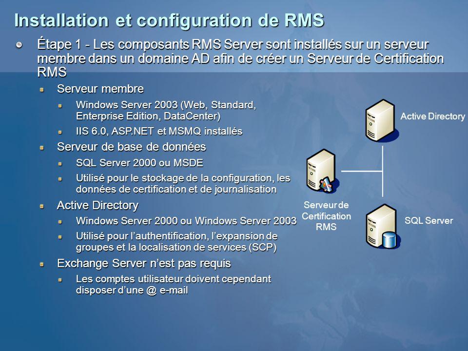 Installation et configuration de RMS