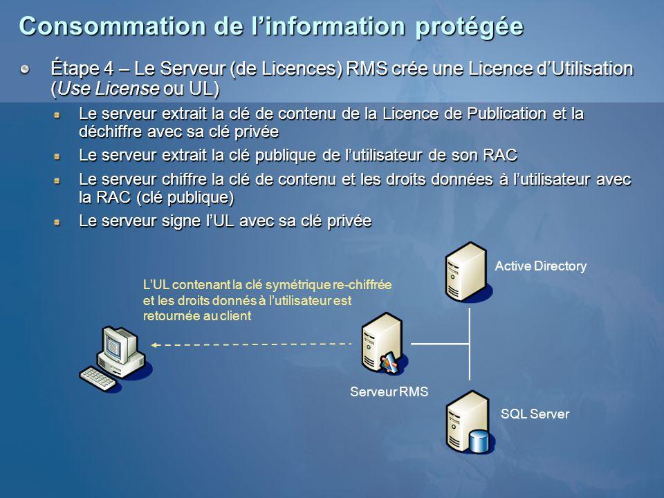 Consommation de l'information protégée