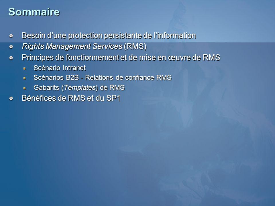 Sommaire Besoin d'une protection persistante de l'information