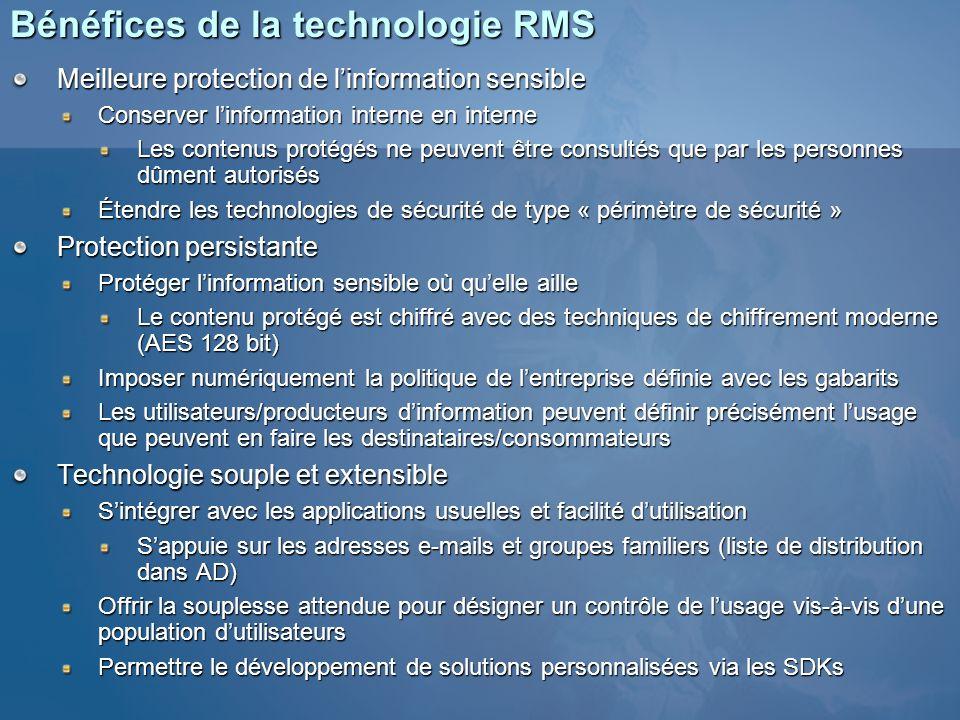 Bénéfices de la technologie RMS