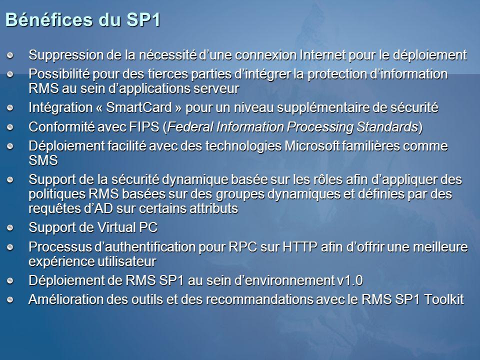 3/26/2017 3:56 PM Bénéfices du SP1. Suppression de la nécessité d'une connexion Internet pour le déploiement.