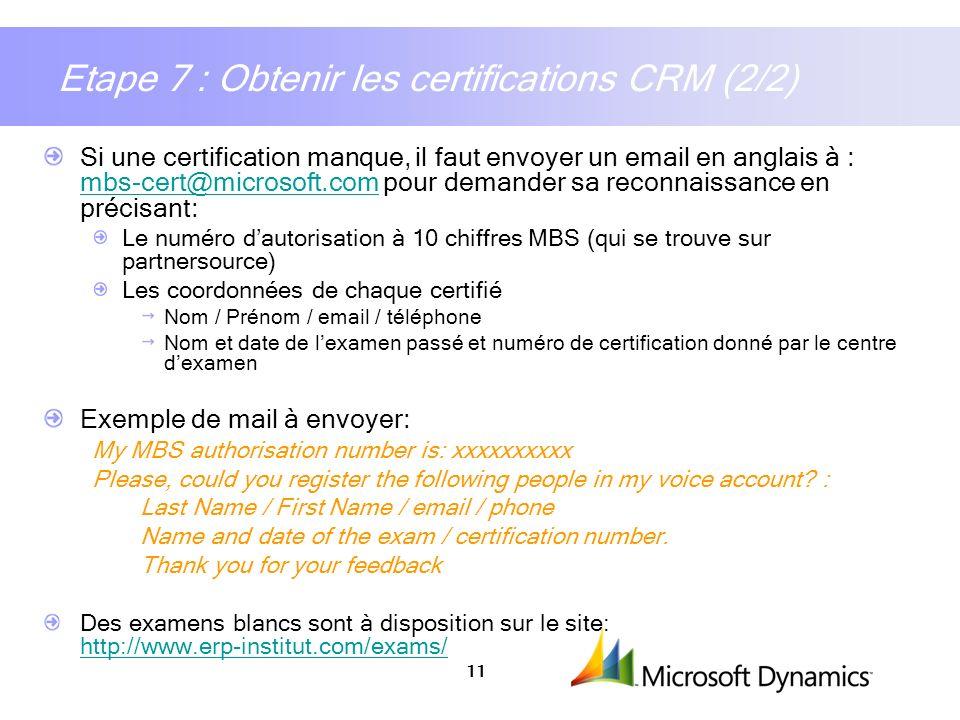 Etape 7 : Obtenir les certifications CRM (2/2)