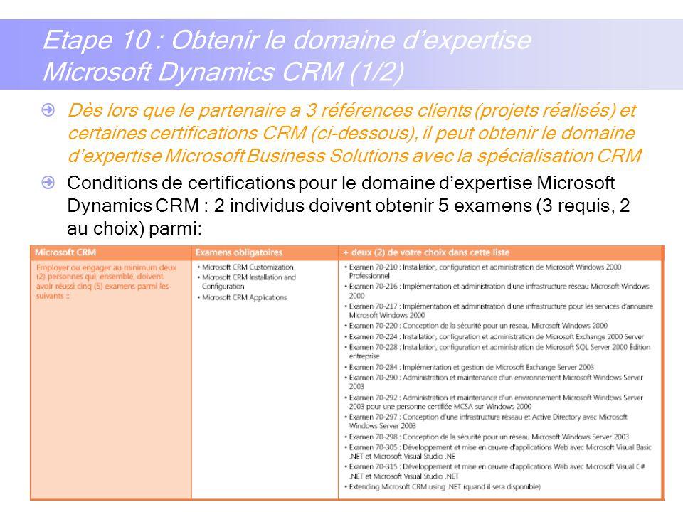 Etape 10 : Obtenir le domaine d'expertise Microsoft Dynamics CRM (1/2)