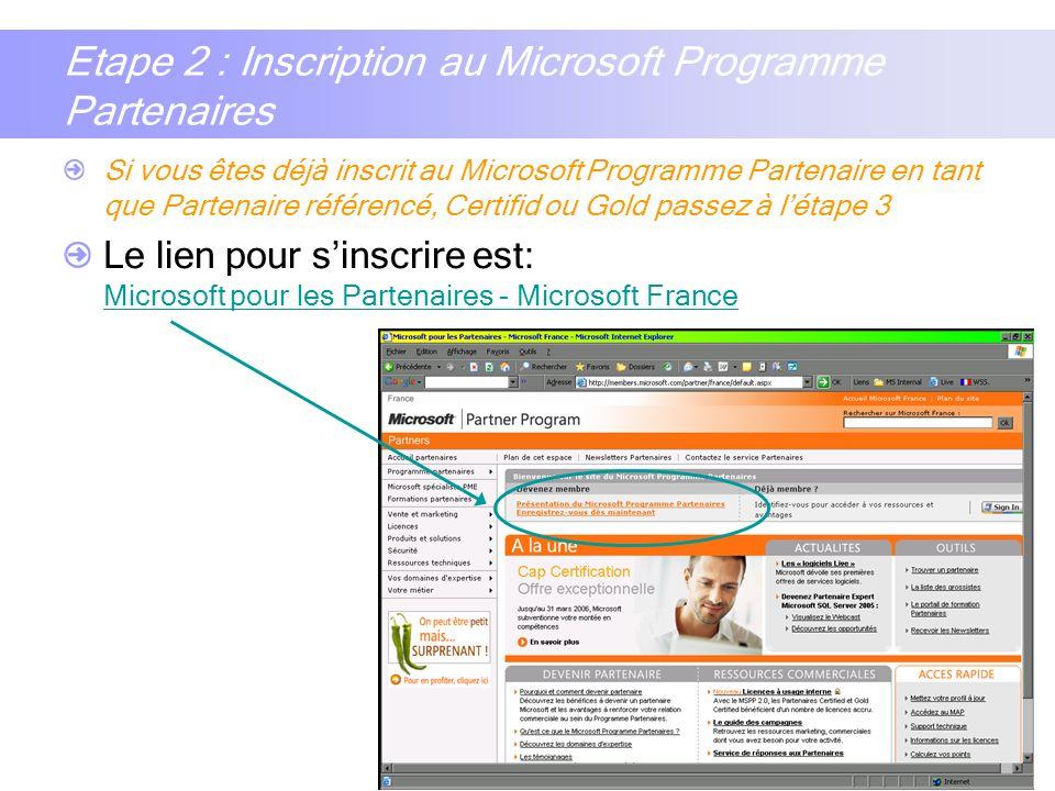 Etape 2 : Inscription au Microsoft Programme Partenaires