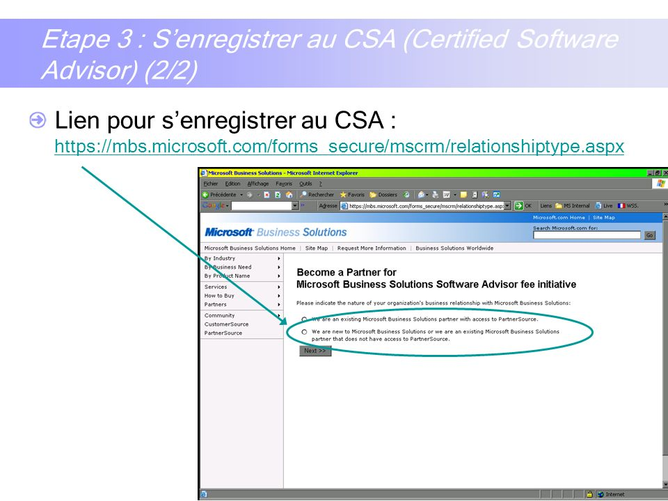 Etape 3 : S'enregistrer au CSA (Certified Software Advisor) (2/2)