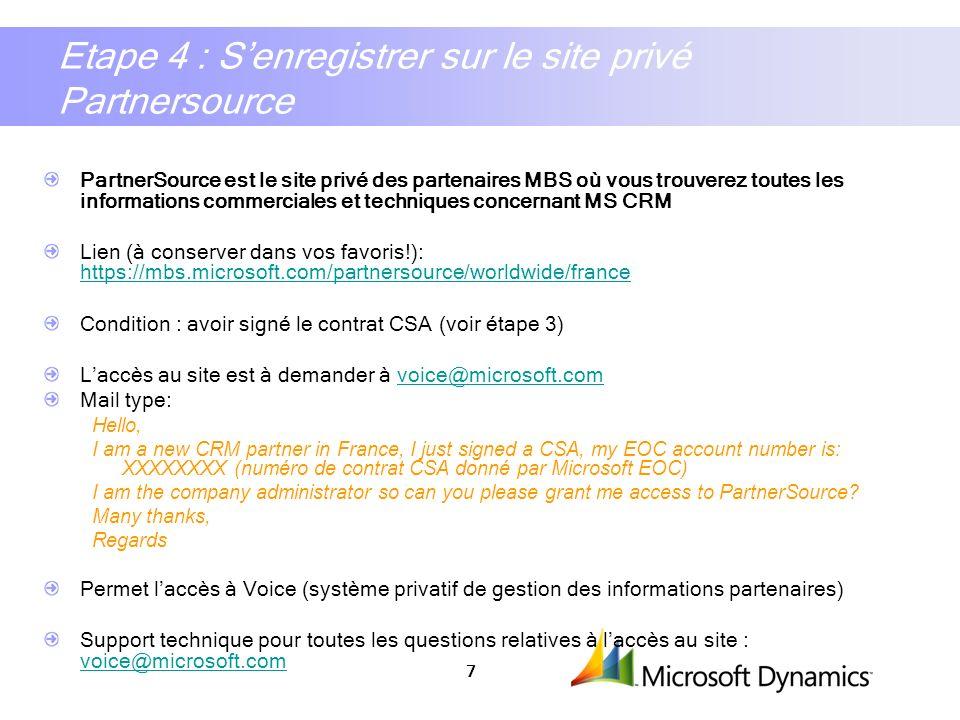 Etape 4 : S'enregistrer sur le site privé Partnersource