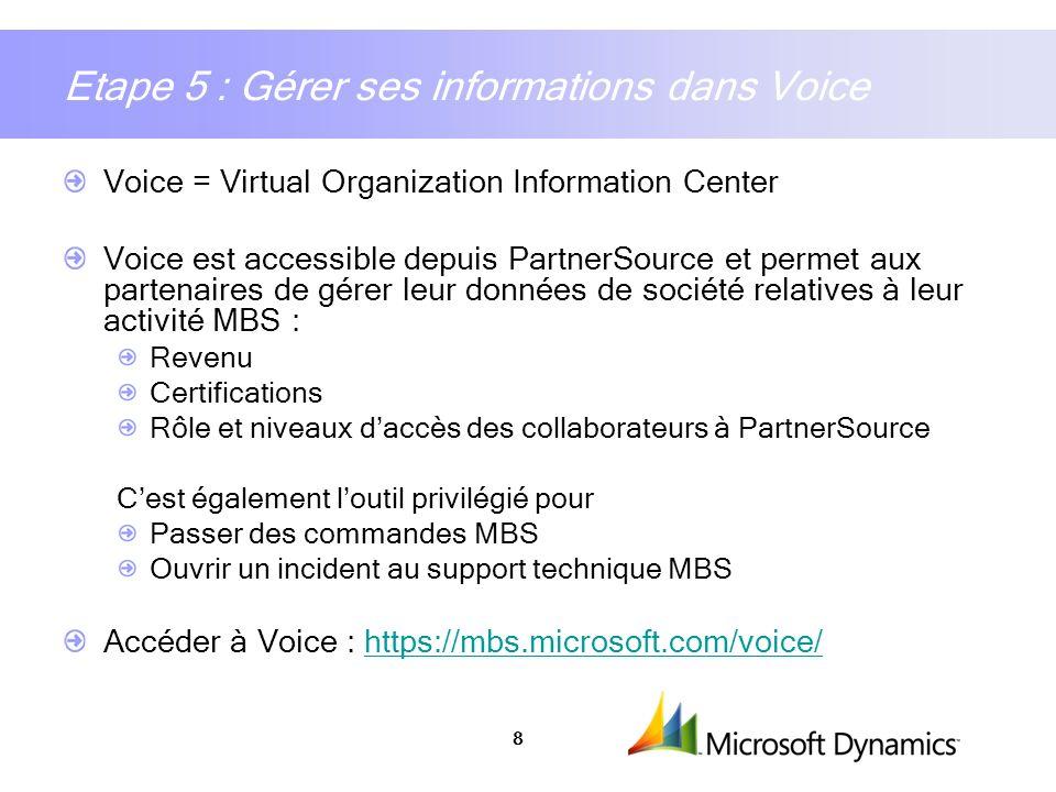 Etape 5 : Gérer ses informations dans Voice