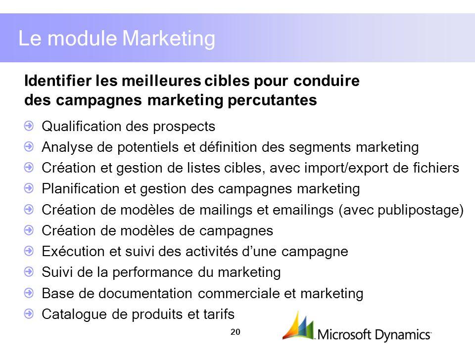 Le module Marketing Identifier les meilleures cibles pour conduire des campagnes marketing percutantes.