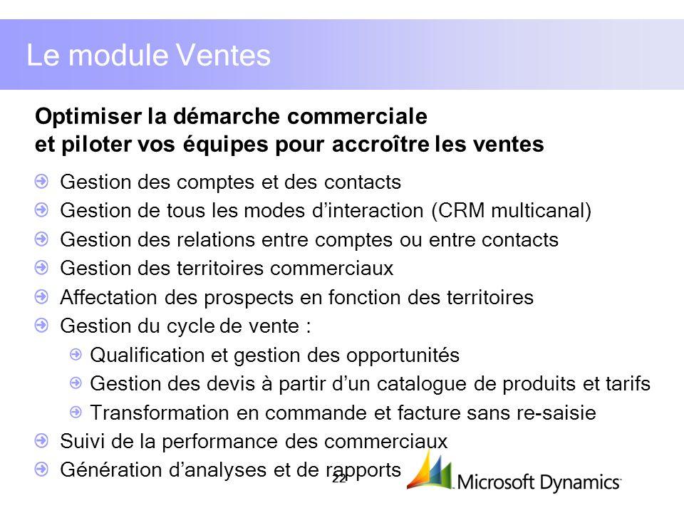 Le module Ventes Optimiser la démarche commerciale et piloter vos équipes pour accroître les ventes.