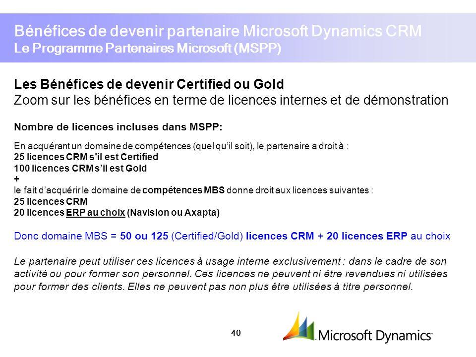 Bénéfices de devenir partenaire Microsoft Dynamics CRM Le Programme Partenaires Microsoft (MSPP)