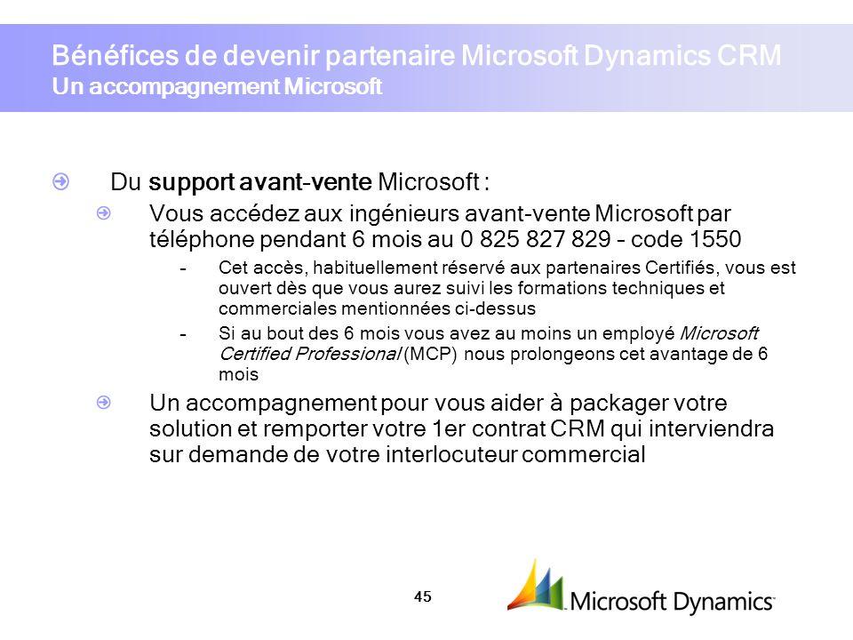 Bénéfices de devenir partenaire Microsoft Dynamics CRM Un accompagnement Microsoft