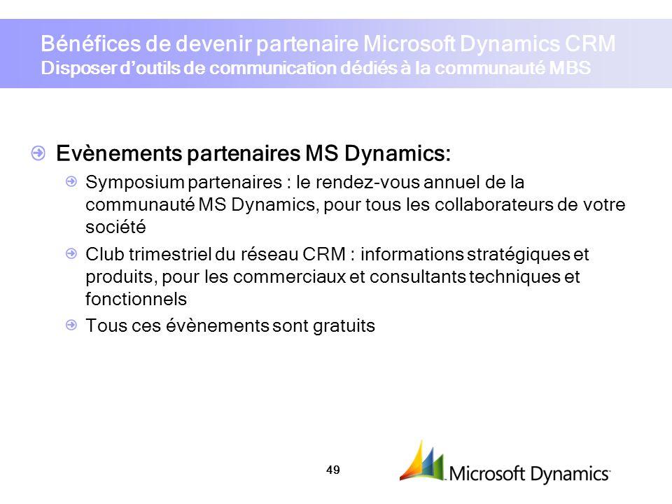 Evènements partenaires MS Dynamics: