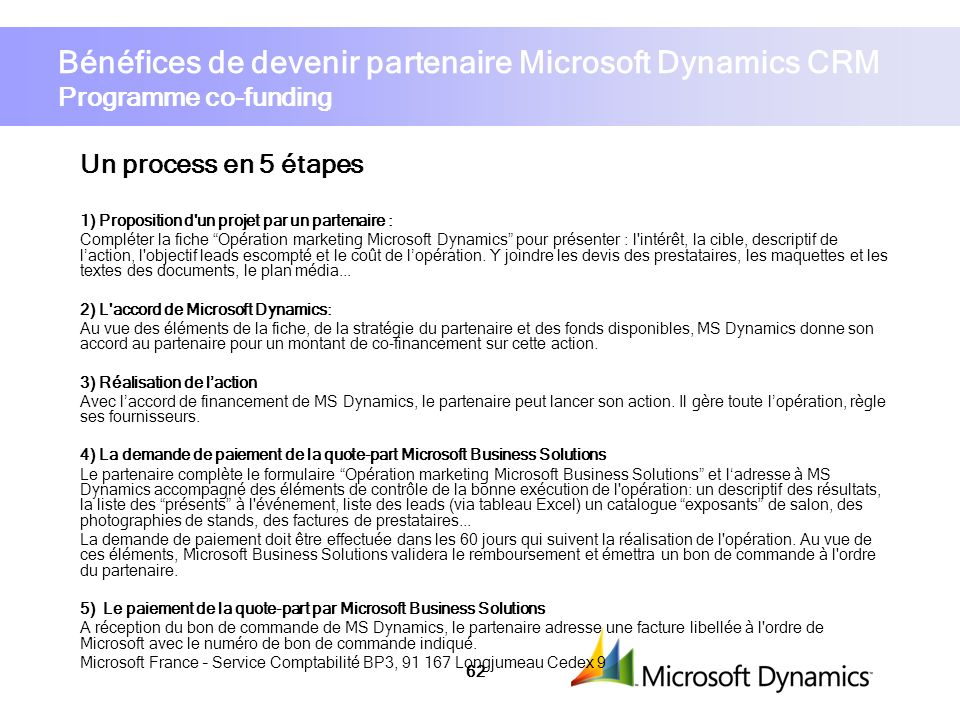 Bénéfices de devenir partenaire Microsoft Dynamics CRM Programme co-funding