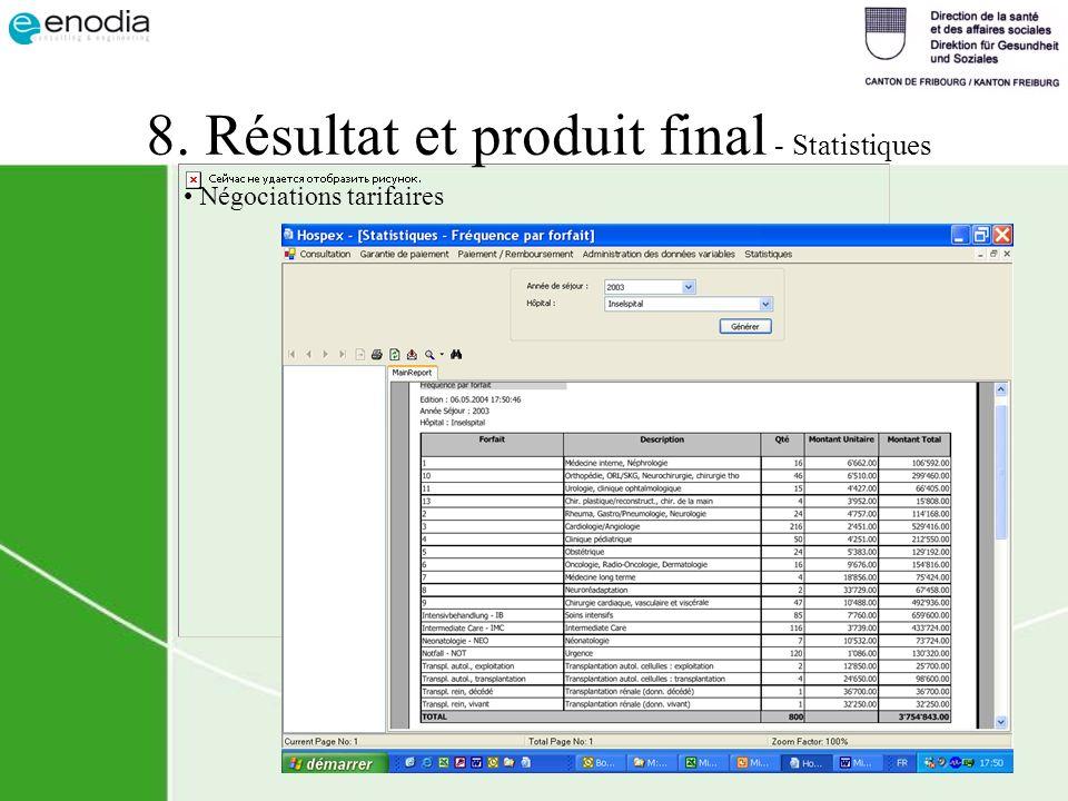 8. Résultat et produit final - Statistiques