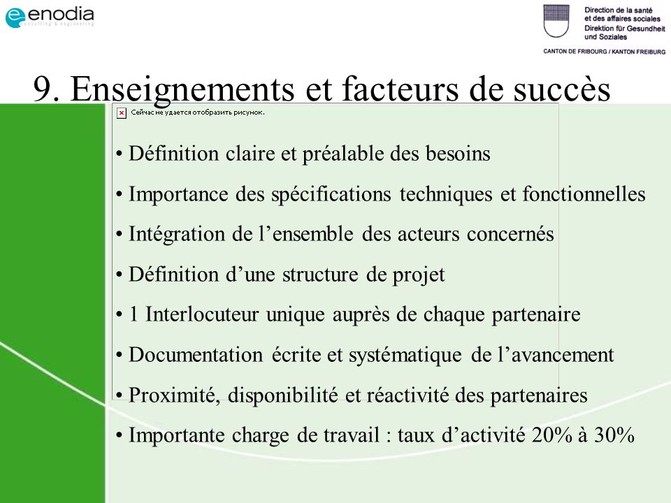 9. Enseignements et facteurs de succès