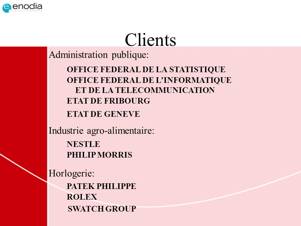 Clients Administration publique: Industrie agro-alimentaire: