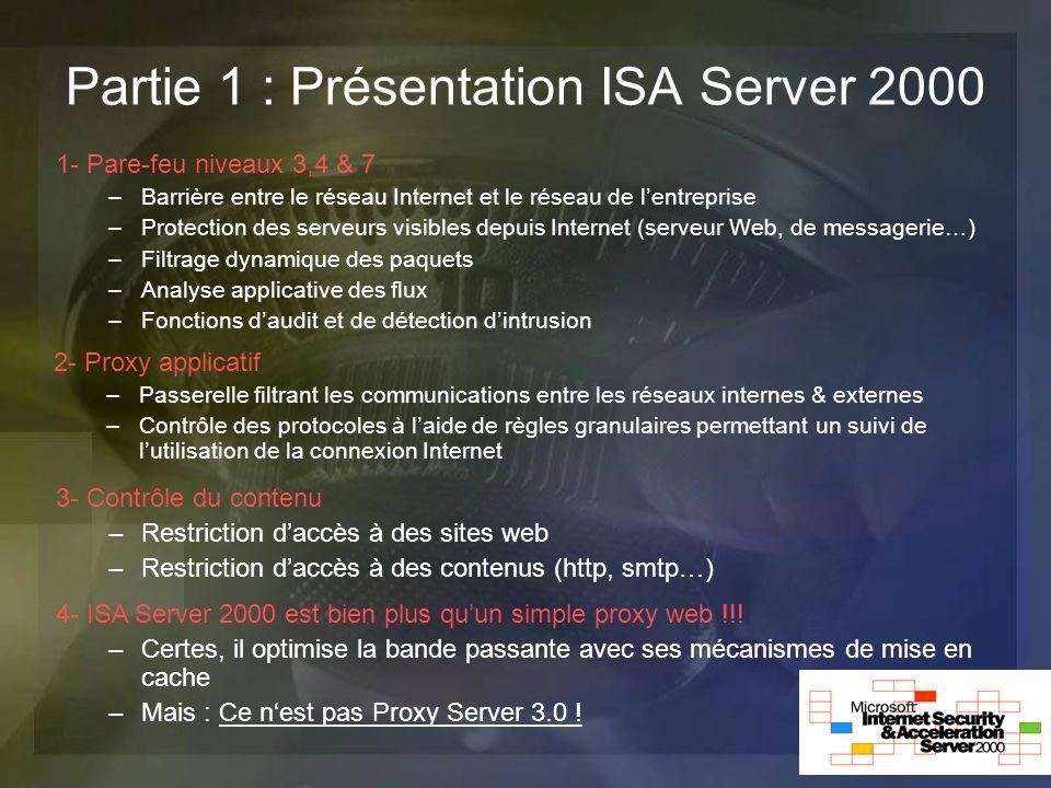 Partie 1 : Présentation ISA Server 2000